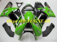 Injectie Mold Fairing Kit voor Kawasaki Ninja ZX6R 636 03 04 ZX 6R 2003 2004 ABS Plastic Green Black Fackings Set + Gifts KG13