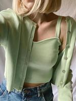 ZXQJ Elegant Femmes Blouses tricotées vertes Ensemble 2021 Mode Mesdames Vintage Bomb Tops Set Casual Femelle Soft Shirts Filles Chic