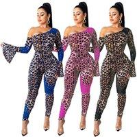 Donne tutes suits Rompere autunno Vestiti invernali Una spalla Pagoda Manica Leopardo Pannelli di stampa Pannelli Pantaloni a figura intera Pantaloni Body SexyClub 0622