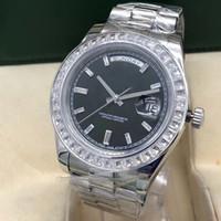 Top Quality Fashion Mens Guarda Diamante Daydate Iced Out Movimento meccanico in acciaio inox Acciaio inossidabile Black Dial WristWatches Sport Orologi