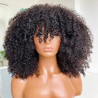 Afro Kinky Curly perruque avec franges Machine pleine Machine en cuir chevelu Perruque 2000 Densité Remy Brésilien Courtes Perruques de cheveux humains