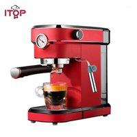 ITOP 15BAR آلة القهوة شبه التلقائي مع قياس الضغط صانع القهوة المنزلية المدمج في الحليب 220 فولت أحمر أسود 1