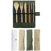 7-piece خشبية الأطباق السكاكين مجموعة الخيزران سترو مجموعة مع القماش حقيبة السكاكين شوكة ملعقة عيدان السفر بالجملة