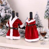 شجرة عيد الميلاد زجاجات النبيذ غطاء ل سانتا فقرة تنورة النبيذ حالة أكياس غطاء النبيذ زجاجة مجموعة عيد الميلاد الديكور شحن مجاني DHL HH9-3607