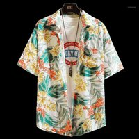 Mens Casual Camisa Manga Curta Solta Tamanho Grande Parklees Impressão Tropical Homens Camisa Hawaiiana Retro Floral Men Plus Size HH50CS1