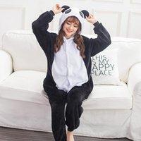 Yetişkin Onesie Anime Kadınlar Kostüm Panda Cadılar Bayramı Cosplay Karikatür Hayvan Pijama Kış Sıcak Flanel Kapüşonlu Pijama1