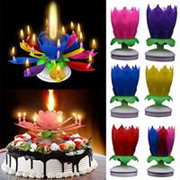 Музыкальный день рождения свеча день рождения торт топпер украшения волшебный цветок лотоса цветы цветущие цветущие вращающиеся спиновая вечеринка свеча