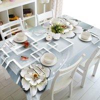Masa örtüsü 3D şerit beyaz çiçek masa örtüsü moda ekose gül su geçirmez kalınlaşmak dikdörtgen ve düğün için yuvarlak