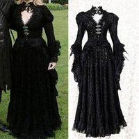 Casual Dresses mittelalterlich edel Cosplay Halloween Weibliche Kostüm Erwachsene Spitze Vampire 2021 Maskerade Frauen Kleid