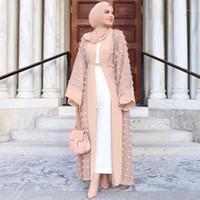 Roupas étnicas Abayas para mulheres 2021 Kaftan Abaya Dubai Islam Floral Cardigan Vestido Muçulmano Caftan Marocain Hijab Turco Vestuário Islâmico1
