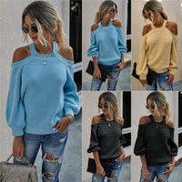 Sexy sans bretelles Pull Femmes Couleur unie Pull O Neck lanterne manches Knits Mode Automne Femmes Casual Tops