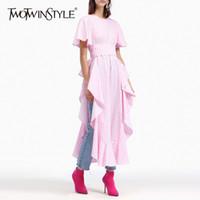 Twotwinstyle Split Dress xadrez manga curta túnica cintura alta ruffles tamanho grande vestidos longos 2020 verão elegante nova roupa lj201203