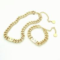 Мода Письмо из нержавеющей стали 14K Золотая кубинская ссылка цепь ожерелье браслет для мужчин и женщин вечеринки влюбленные подарок подарок хип-хоп ювелирные изделия