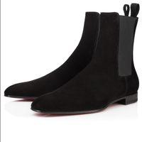 Lüks Tasarımcı Erkekler Ayak Bileği Çizmeler Kırmızı Alt Roadie Flats Beyefendi Patik Erkek Moda Knight Booty Ünlü Parti Düğün EU38-47