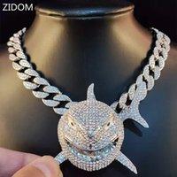 Grande tamanho de tubarão pingente colar para homens 6ix9ine hip hop bling jóias com cristal de cristal miami cubano moda jóias y1220