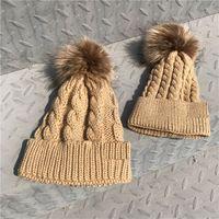 Kış Abilya Beanies Veli-Çocuk Şapkalar Bebek Çocuk Anne Örgü Şapka Açık Kayak Tığ Şapka Pom Pom Örme Flanş Kafatası Kapaklar D121003