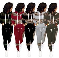 Tasarımcı Leopar Baskılı Kadın Eşofman Kış Spor İpli Kapşonlu Hoodies Pantolon İki Parçalı Kıyafetler Rahat Sweetsuit S-3XL E122105