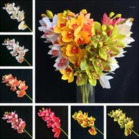 4p Artificial Latex Cymbidium Orchid Flowers 10 heads Real T...