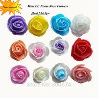 Venda 50 pçs / pacote, 2.5cm PE espuma rosa espuma artificial mini flores cabeças para decoração de festa de casamento azul rosa grinalda flor artesanato