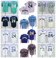 1984 1995 Emekli 24 Ken Griffey Jr Vintage Beyzbol Jersey Flexbase 2016 Serin Baz Kazak Nakış ve Dikiş Mavi Yeşil Beyaz Lacivert