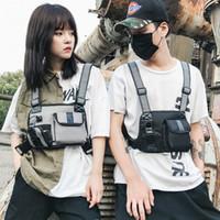 Männer Frauen Taktische Brust Rig Bag Weste Hip Hop Bag Burness Zwei Taschen Fanny Packs Taillenpackungen Unisex Erwachsene Einstellbar