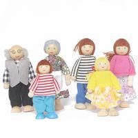 جميع نفس الأسرة دمية ستة خشبي اللعب لعبة البيت الشكل ذكي الطفل دمى يمكن أن تتحرك المفاصل الخاصة بهم