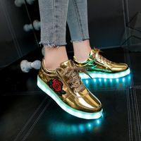 Размер 27-42 Дети для мальчиков USB зарядное устройство светящиеся дети девушки кроссовки светящиеся повседневные легкие туфли со светодиодной единственной женщиной 201203