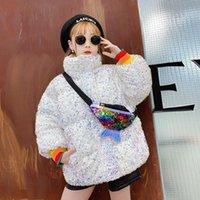 Kızlar Sequins Ceket Güz Kış Pamuk Kabanlar Çocuk Moda Marka Coat Çocuklar Lambada Işık Parlak Giysileri Ile Para Ile 4-14yrs