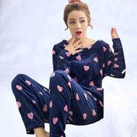 최신 겨울 플란넬 파자마 소녀의 여성용 잠옷 2021 버전 긴 소매 두꺼운 온기 스타일 산호 벨벳 잠옷