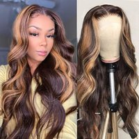 Miel Rubia Pelucas destacadas 13x6x1 Ombre Brown Body Wave Encaje Frente Peluca de cabello humano Peluca de seda Frontal Frontal Malasia T Peluca