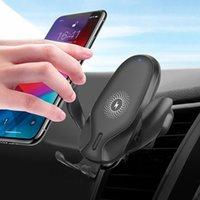 Chargeur sans fil de voiture de 10W Qi pour Xiaomi iPhone12 11Pro Max Samsung S20 S10 Induction rapide Titulaire de téléphone de voiture à chargement rapide