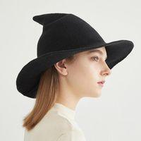 Новая мода вязание осень зимние ковш шляпы Хэллоуин ведьма шляпа женские шерстяные вязаные шляпы подарки смешно заостренный рыбак