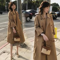 여성 패션 캐주얼 솔리드 컬러 더블 브레스트 아웃웨어 사무실 숙녀 코트 Chic 한국어 스타일 디자인 긴 트렌치 코트 female1