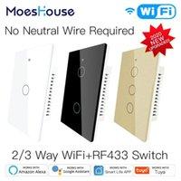 New WiFi Smart Light Switch RF433 No Neutral Wire Single Fire Smart Life Tuya App Control funziona con Alexa Google Home 110 V 220v1