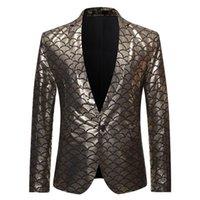 Блестящие золотые бронзы Одно кнопка Blazer MEN 2019 Новый Новый DJ NightClub Костюм Куртка Мужская вечеринка Стадия Пейжи Костюм Homme1