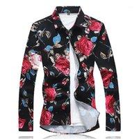 2019 neue ankunft männer shirt floral druck langarm baumwolle lässig männliche shirts plus größe 6xl party blume herren kleid shirts1