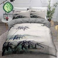 مجموعات الفراش Helengili 3D مجموعة الحبر الصيني اللوحة طباعة حاف الغطاء أغطية السرير مع المخدة سرير المنسوجات المنزلية # ZGSH01