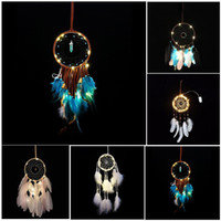 LED Light Wind Chimes Dreamcatcher with Feather Wall Hanging...