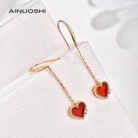 Stud Ainuoshi 18k Gold Agate rouge naturel en forme de coeur, côté ensemble avec diamant 0.03t, boucles d'oreilles stupides, convient aux femmes1