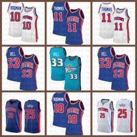 2021 Yeni Basketbol Forması DetroitPiston Mens Grant 33 Hill Mesh Retro Dennis 10 Rodman Isiah 11 Thomas Derrick 25 Gül Turuncu