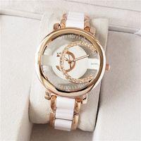 Mode Marke Uhren Männer Frauen Aushöhlen Kristall Stil Stahlband Quarz Armbanduhr CH07