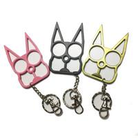 자기 방어 키 체인 창의력 고양이 키 체인 열쇠 고리 병 오프너 스크루 드라이버 야외 패션 여성 남성 자기 방어 도구