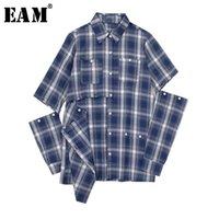 [EAM] Femmes Blue Plaid Hollow Out Sittch Blouse Nouveau revers manches longue manches en vrac de chemise Fashion Tide Spring Automne JW831 201126
