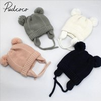 2020 marca nova criança criança menino menino de malha esbranquiçado esfera de pele 3d urso orelhas outono inverno macio algodão beanie sólido quente chapéus