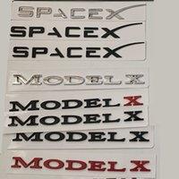 رسائل شعار شارة tesla نموذج 3 نموذج s نموذج x spacex سيارة التصميم جذع شعار التمهيد ملصق الكروم ماتي لامعة أسود أحمر