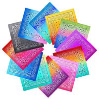 Mode Multi Color 100% Baumwollgewebe Bandana Material Kundenspezifische Ski-Kopf Paisley Bandanas Auf Lager Kostenlose Express-Lieferung für Großhandel und Einzelhandel