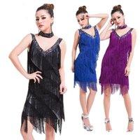 Bayanlar 1920s Flapper Latin Elbise Büyük Gatsby Parti Charleston Fringe Latin Salsa Dans Performans Kostüm Dress1