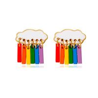 Sweet Rainbow Earrings Colorful Cloud Raindrop Ear Drop Dangle Earring for Women Girls New Fashion Jewelry