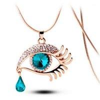 Мода волшебный глаз кристалл слез капля ресницы ожерелье длинный свитер цепи кулон подарок этнической богемный колье # 4n081