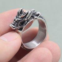 Новая мода китайский дракона кольцо ретро из нержавеющей стали мужские кольца мужчины готические украшения подарки для мужа танцевальная вечеринка